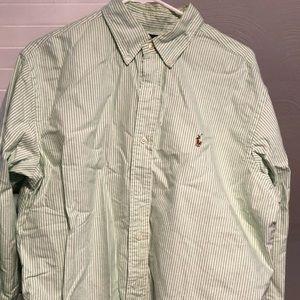 Polo green striped dress shirt